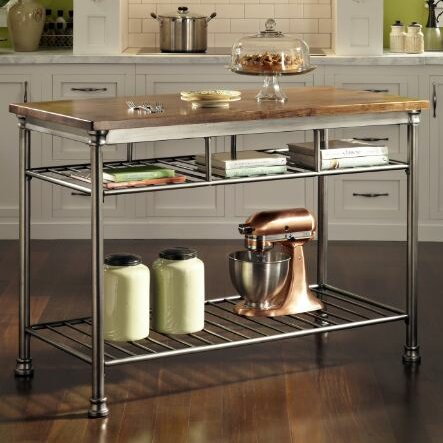 Haleakal Kitchen Island with Butcher Block Top