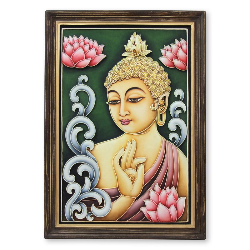 Novica Buddha Reigns in Peace Marble Dust Relief Panel by Shweta ...