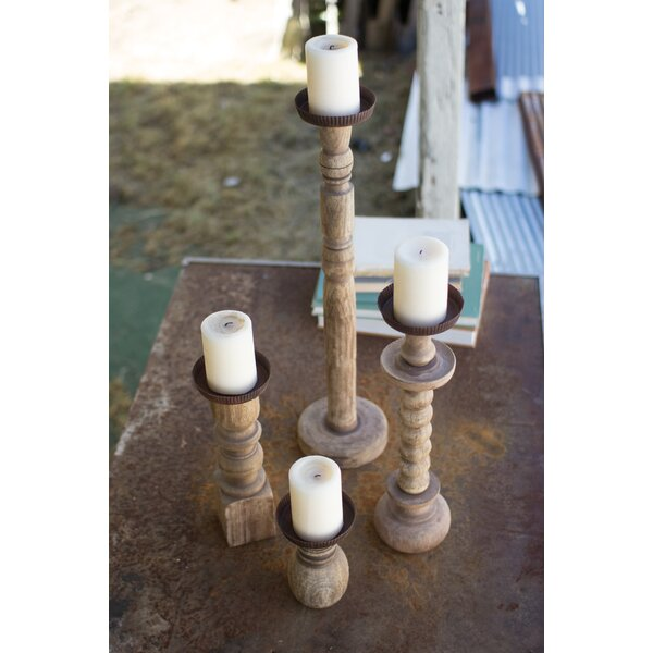Shop 4 Piece Recycled Turned Wood Candlestick Set from Wayfair on Openhaus
