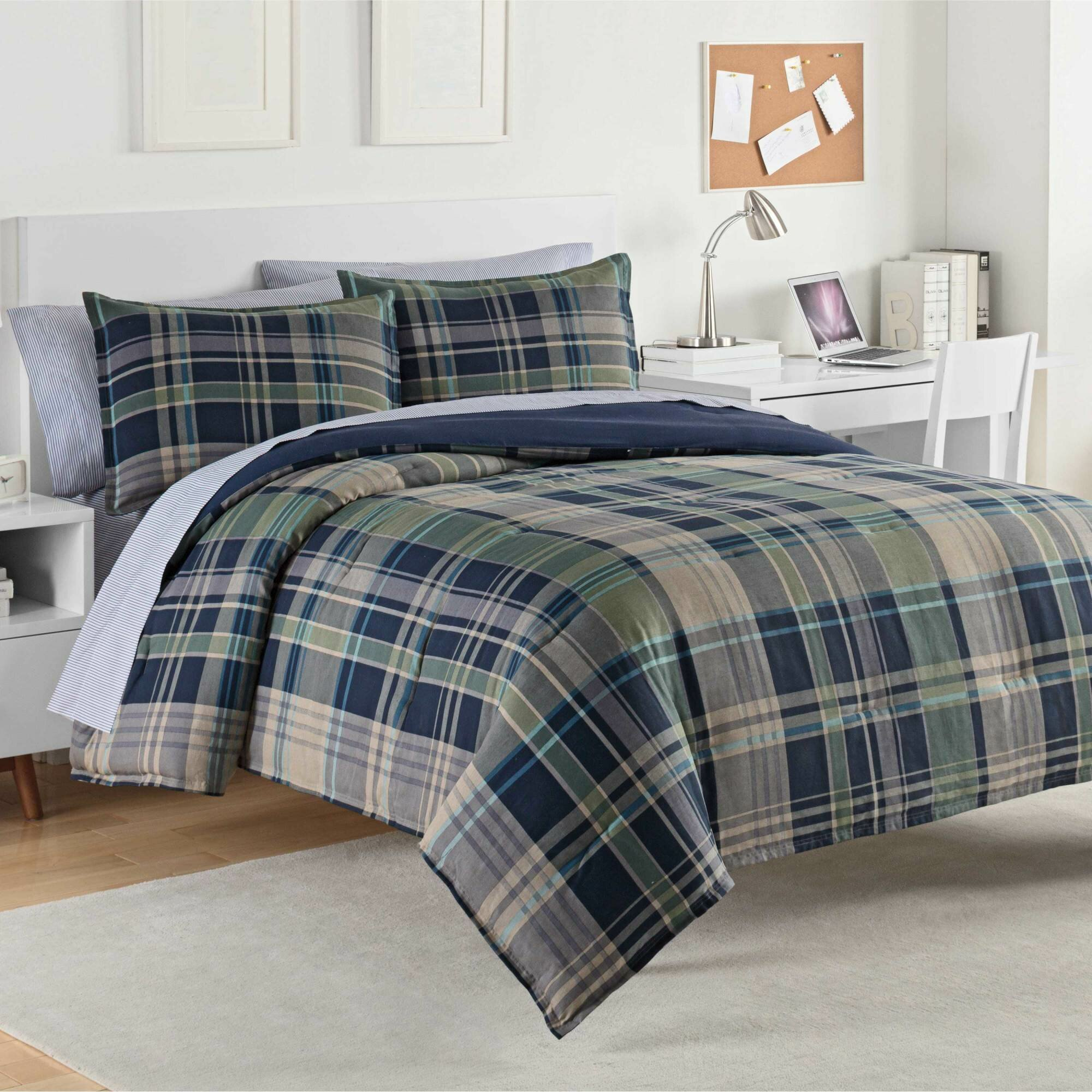 king cotton sets gray size eddie plaid bedding bauer comforter flannel kingston set reversible charcoal queen itm