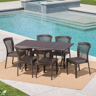 Soumya Outdoor Wicker 7 Piece Dining Set