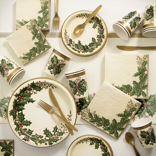Winter Holly Paper and Plastic Tableware Kit