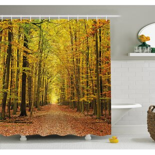 Fall Pathway in Forest with Faded Leaves Dramatic Romantic Season Scene Shower Curtain Set