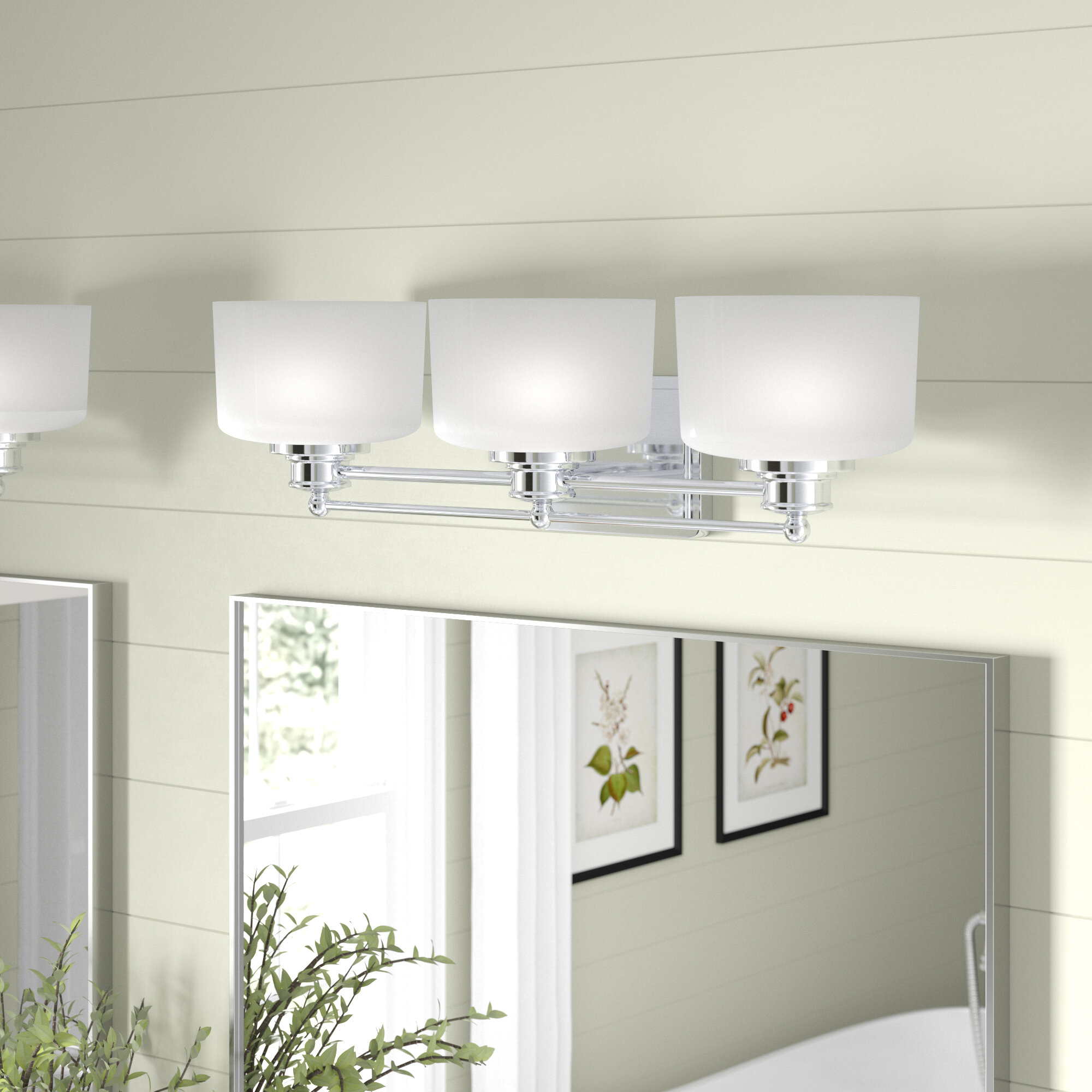Craig 3 Light Dimmable Polished Chrome Vanity Light Reviews Birch Lane