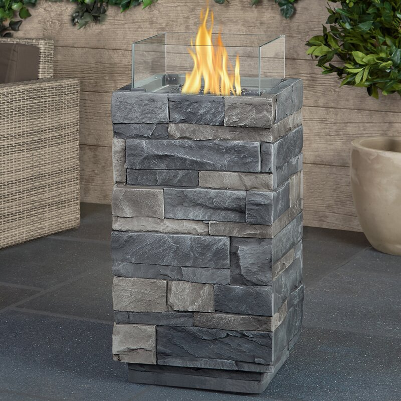 Gray Ledgstone Real Flame Concrete Propane Fire Column (Part Number: T0004 Lp Gls) by Real Flame