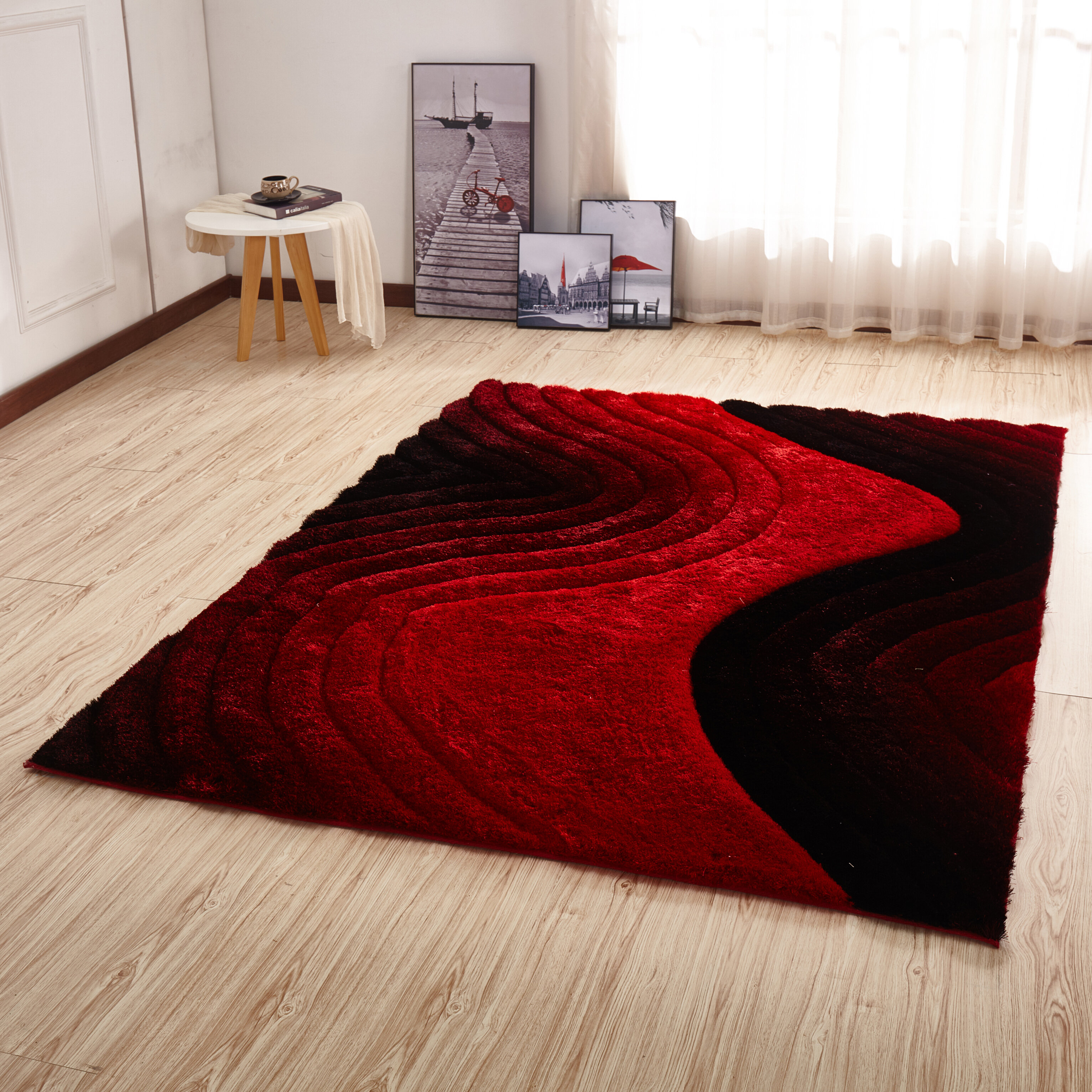 Orren Ellis Kleiber Shaggy 3d Red Black Area Rug Reviews Wayfair