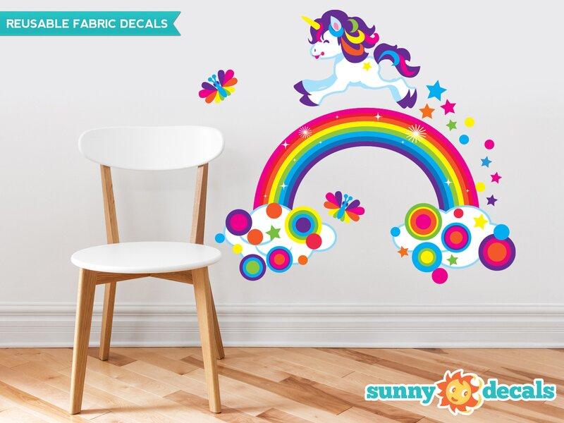 sunny decals unicorn and rainbow fabric wall decal | wayfair