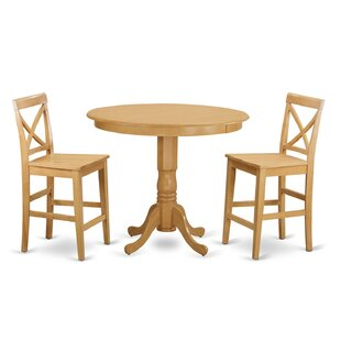 Trenton 3 Piece Counter Height Pub Table Set East West Furniture