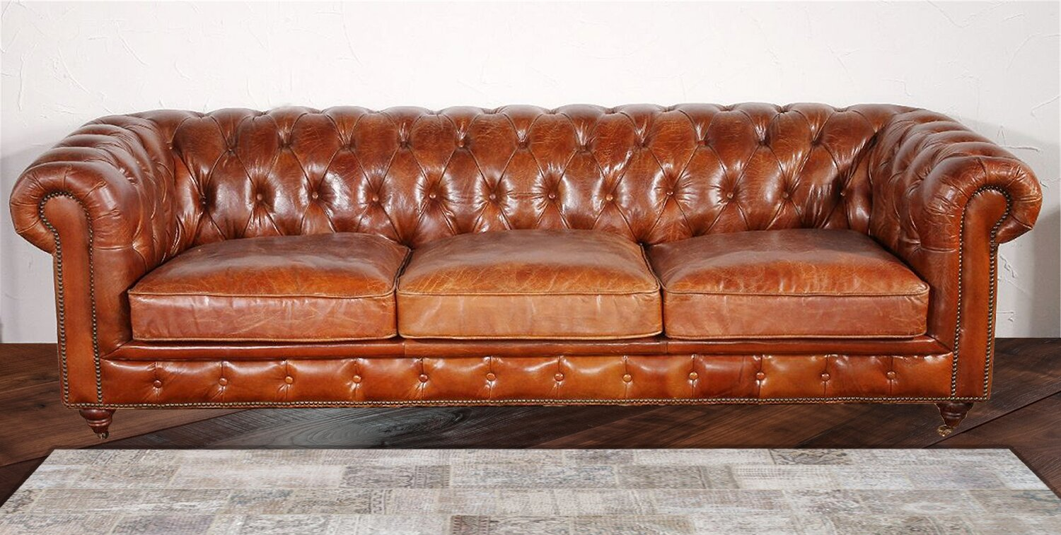 Chesterfield sofa  Pasargad Chester Bay Tufted Genuine Leather Chesterfield Sofa ...