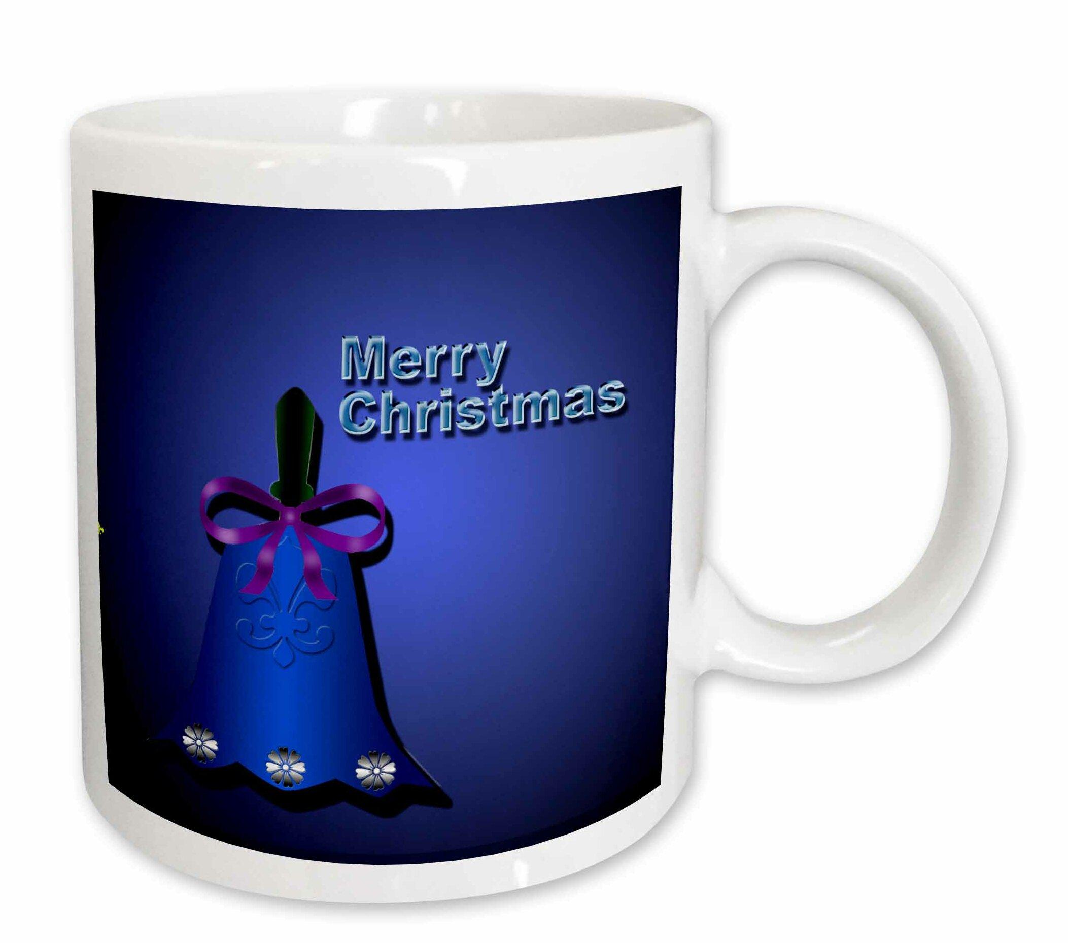 east urban home christmas design with christmas bell on a dark background and merry christmas coffee mug wayfair wayfair