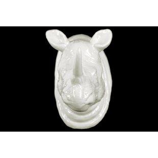 Ceramic Rhino Head Wall Décor
