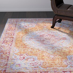 Kahina Vintage Distressed Oriental Saffron/Red Area Rug by Bungalow Rose