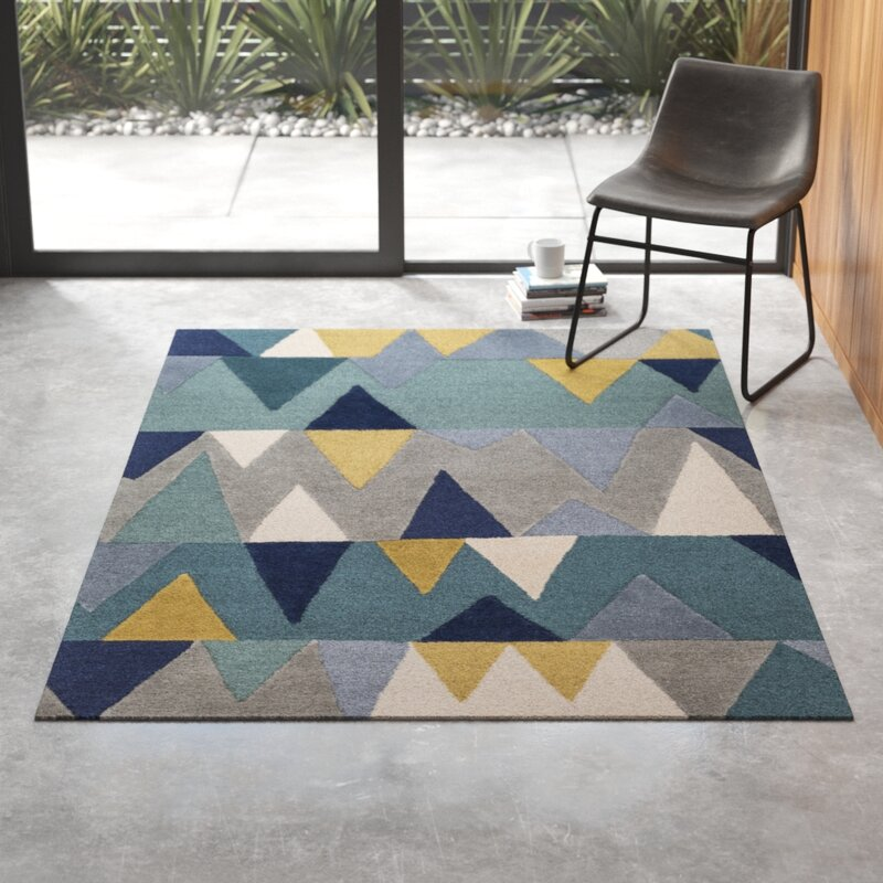 Hand Tufted Wool Bright Blue Area Rug