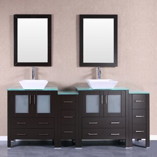 Fulton 84 Double Bathroom Vanity Set with Mirror by Bosconi