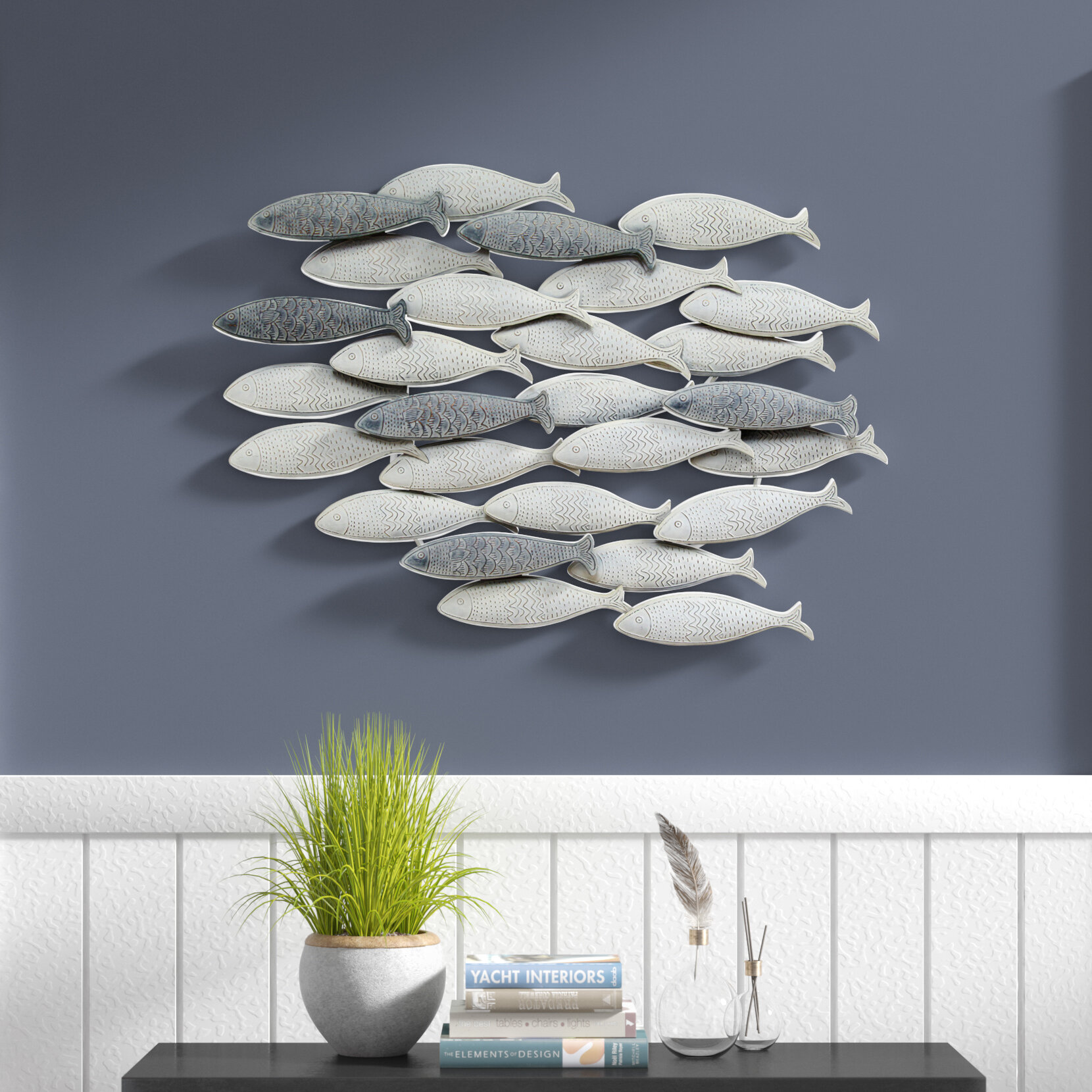 Rosecliff heights school of fish wall décor reviews wayfair