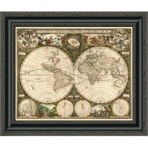 Worksheet. World Map Framed Art Youll Love  Wayfair