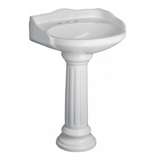 Vicki Vitreous China Circular Pedestal Bathroom Sink with Overflow By Barclay