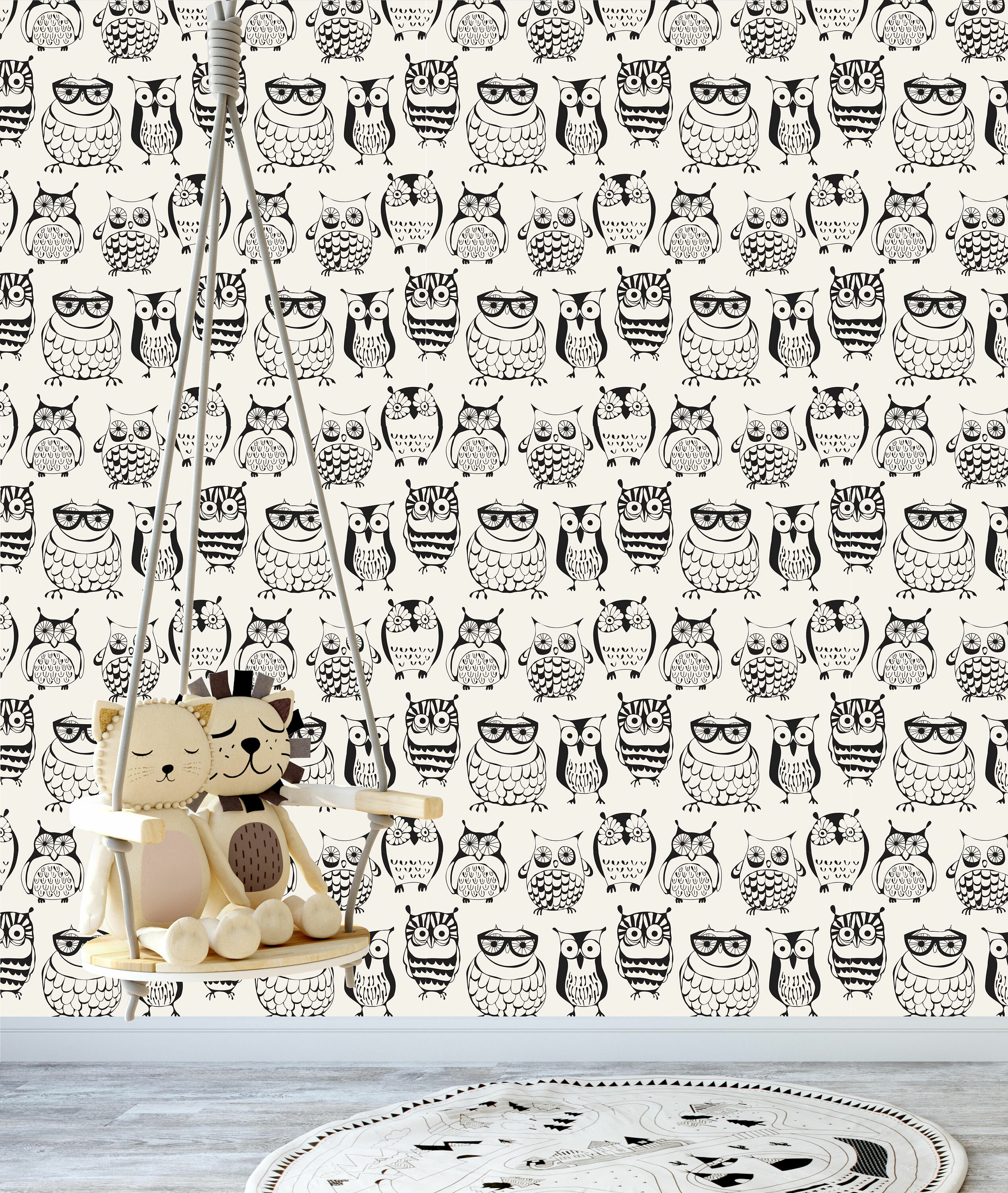 Hill Removable Nursery Cute Owls 6 25 L X W And Stick Wallpaper Roll