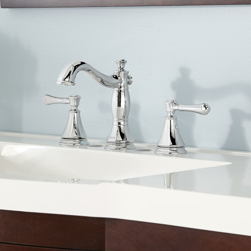 Delta Cassidy® Deck Mount Bathroom Faucet with Drain Assembly ...