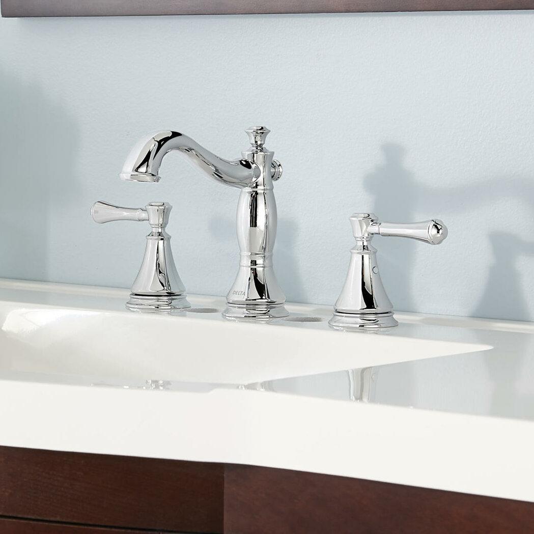 3597lf Rbmpu Pnmpu Mpu Delta Cassidy Deck Widespread Bathroom Faucet With Drain Assembly Reviews Wayfair
