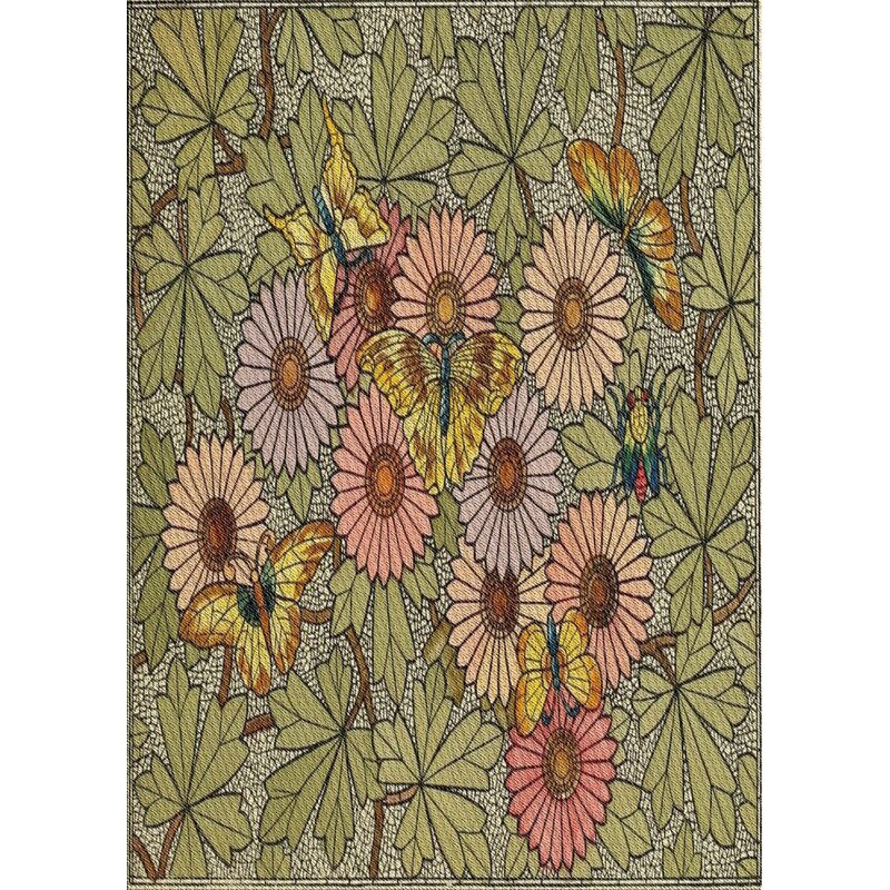 East Urban Home Patterned Green Red Area Rug Wayfair