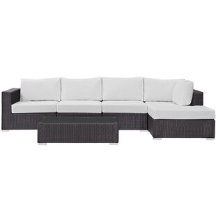 Brentwood 5 Piece Rattan Sectional Set With Cushions by Sol 72 Outdoor Modern