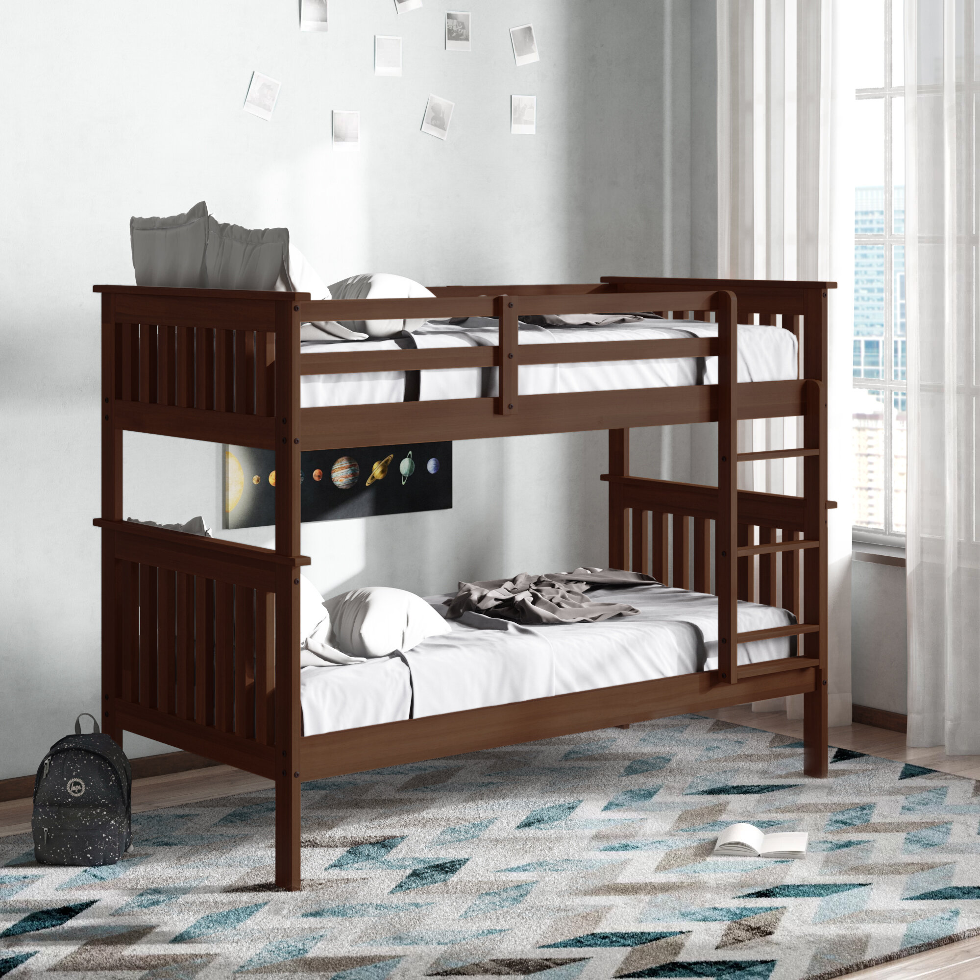 Harriet Bee Dubbo Twin Over Twin Solid Wood Standard Bunk Bed Reviews Wayfair Ca