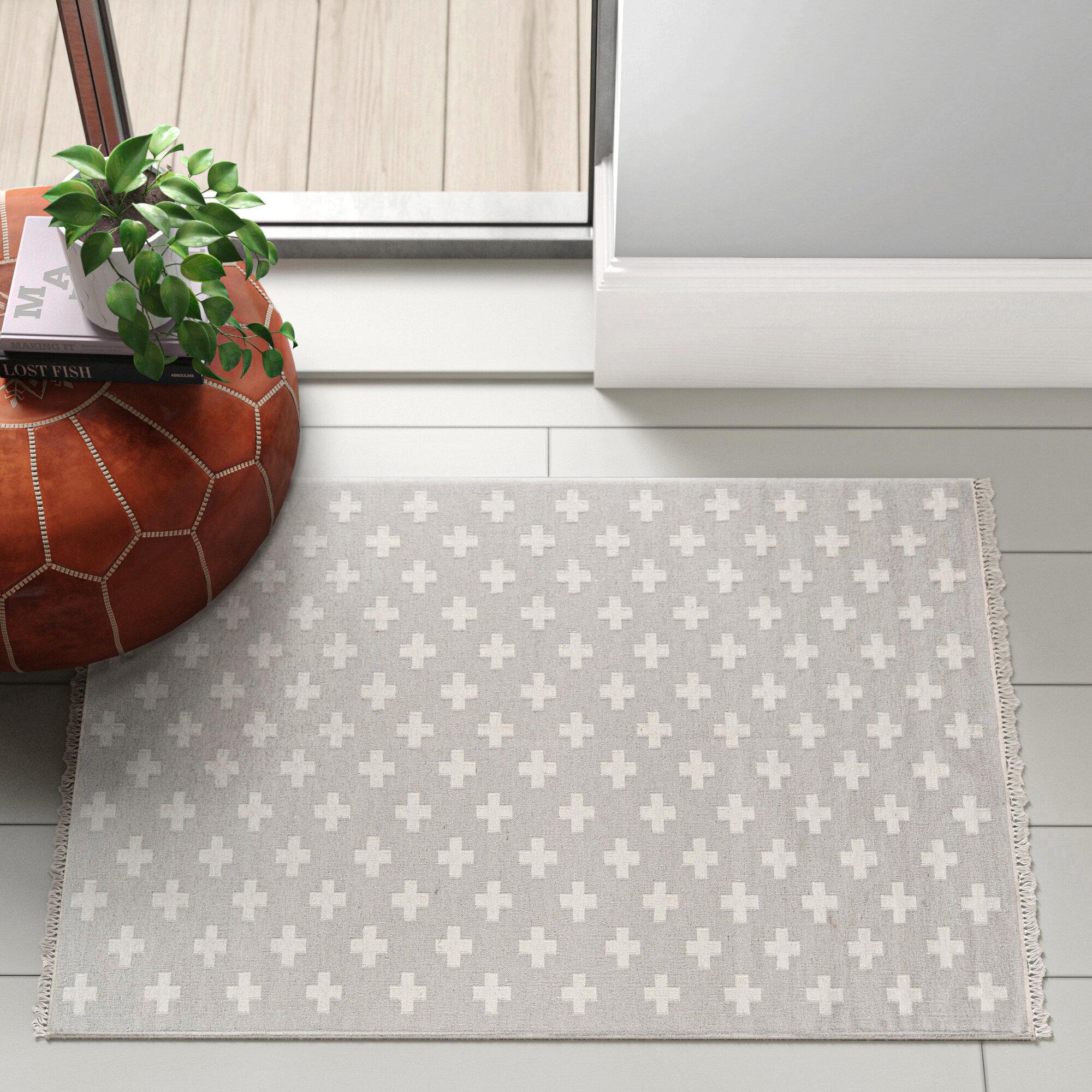 Topanga Geometric Handmade Flatweave Wool Gray White Area Rug Reviews Joss Main