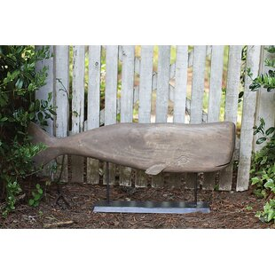 Beachcrest Home Leyla Carved Whale on Pedestal Statue