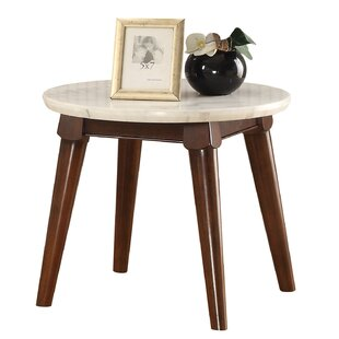 Best Reviews Caledonia Marble Top Wooden Base End Table by Ivy Bronx
