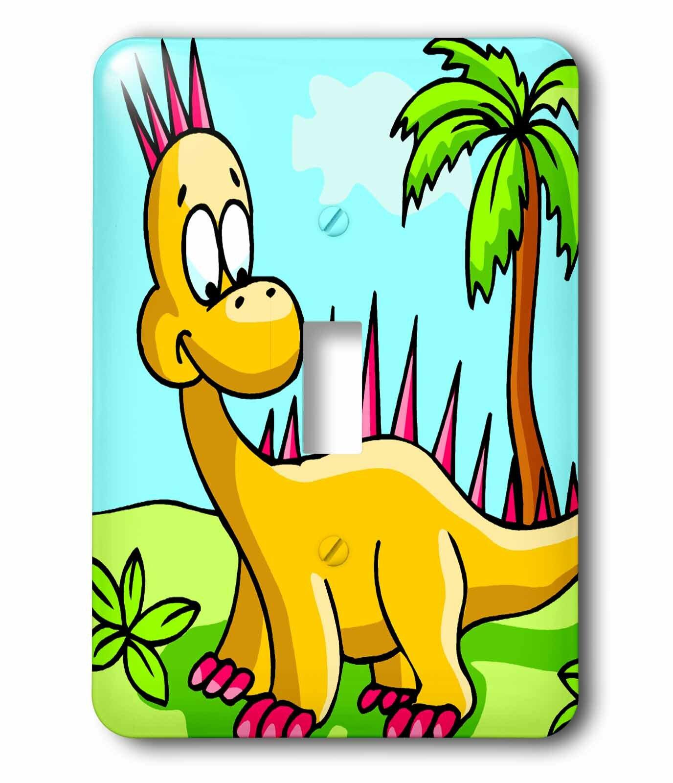 3drose Cute Silly Yellow And Spikey Dinosaur Dino Cartoon Scene 1 Gang Toggle Light Switch Wall Plate Wayfair