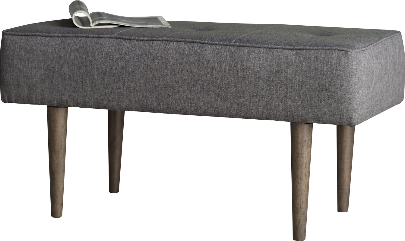 langley street hemet wood upholstered bench u0026 reviews wayfair