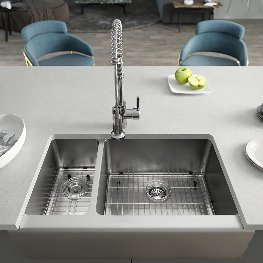 Rene 33 L X 20 W Double Basin Apron Kitchen Sink Wayfair