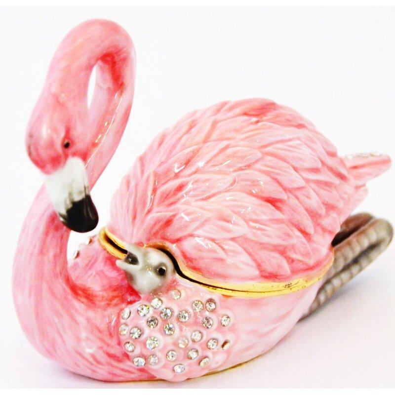 Bay Isle Home Gertrude Flamingo With Baby Trinket Box Reviews Wayfair