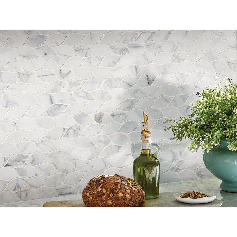 Calacatta Blanco Pattern Polished Marble Mosaic Tile