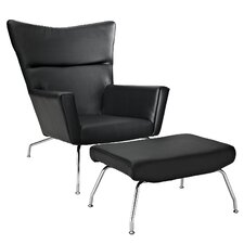 Class Leather Lounge Chair and Ottoman by Modway