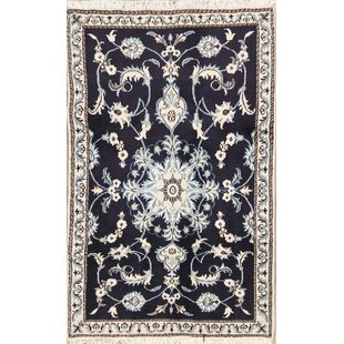 Order One-of-a-Kind Marlon Nain Persian Floral Hand-Knotted 2'10 x 4'7 Wool Blue/White Area Rug By Isabelline