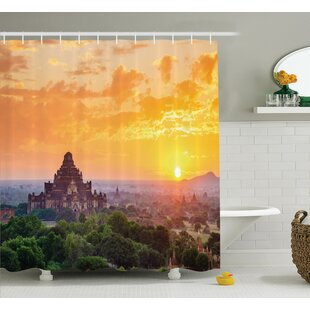 Ancient Temple Sunset Shower Curtain Set