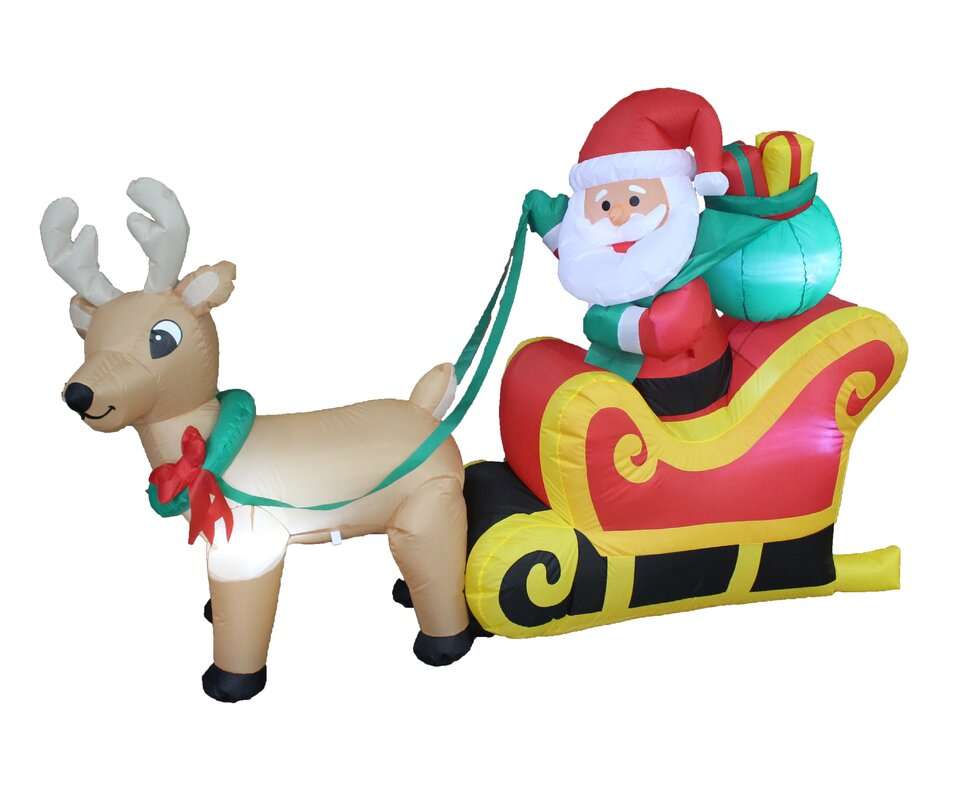 Christmas Inflatable Santa Claus On Sleigh With Reindeer