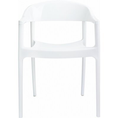 Anner Stacking Patio Dining Chair (Set of 4) Color: White/Glossy White by Zipcode Design