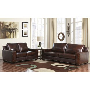 William 2 Piece Leather Configurable Living Room Set (Set of 2) by Darby Home Co