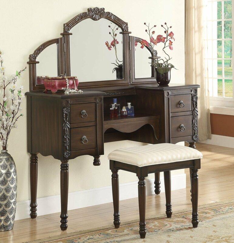 Makeup Vanity Set With MirrorOak Bedroom Vanities You Ll Love Wayfair Oak  Furniture Lighted.