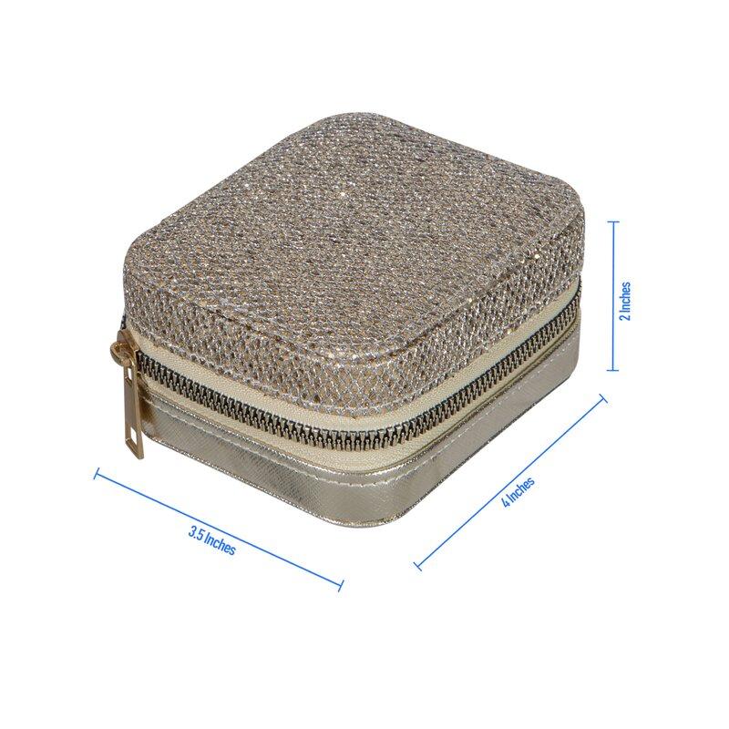 Mercer41 Sequin Mini Faux Leather Zippered Travel Jewelry Organizer Box In Black Wayfair