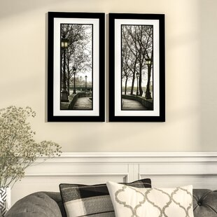 Along The Quai 2 Piece Framed Photographic Print Set In Black And White