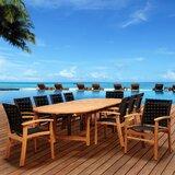 Trevor International Home Outdoor 11 Piece Teak Dining Set