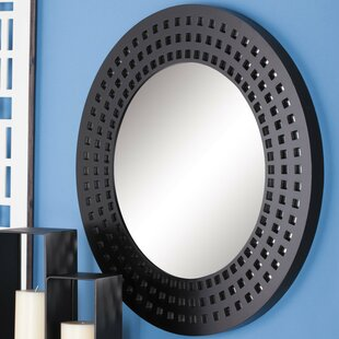 Cole & Grey Wood Round Wall Mirror
