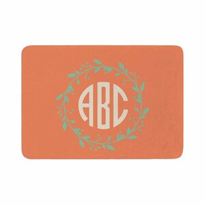 Classic Wreath Monogram Illustration Memory Foam Bath Rug