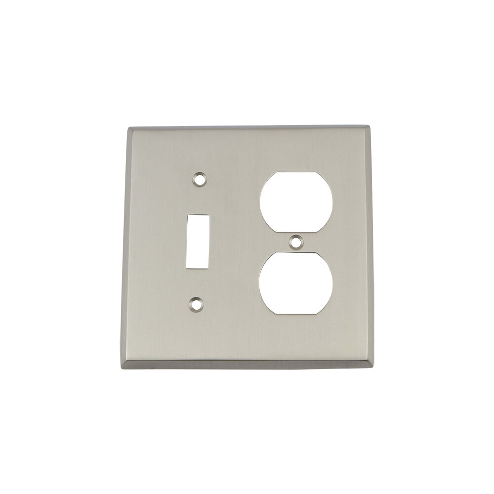 Nostalgic Warehouse New York 2 Gang Duplex Outlet Toggle Light Switch Combination Wall Plate Wayfair