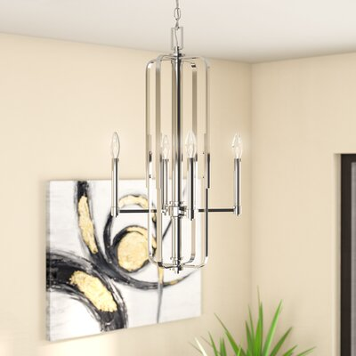 Dining Room and Living Room Brushed Nickel Finish Modern Style Lighting for Entryway Homenovo Lighting Mersey 4-Light Chandelier Hallway