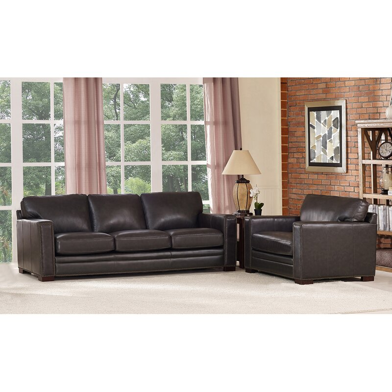 Marvelous Neil Traditional Leather 2 Piece Living Room Set